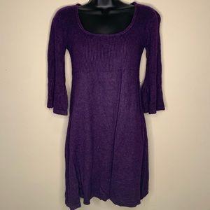 Donna Morgan Silk Cashmere Eggplant A-Line Dress